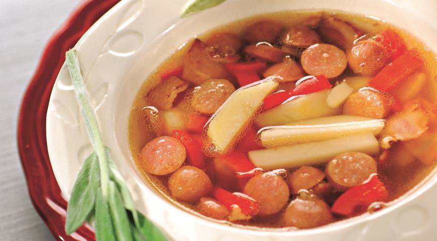 Суп с охотничьими колбасками рецепт пошагово