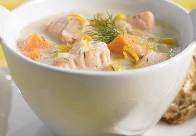 суп с лососем