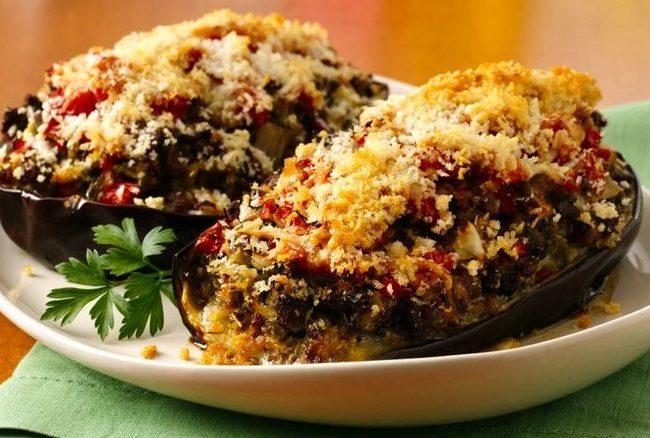 овощные блюда, фаршированные баклажаны, баклажаны, блюда из баклажан