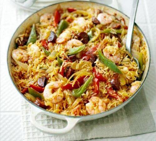 Рис с креветками и чоризо | Рецепты с фото