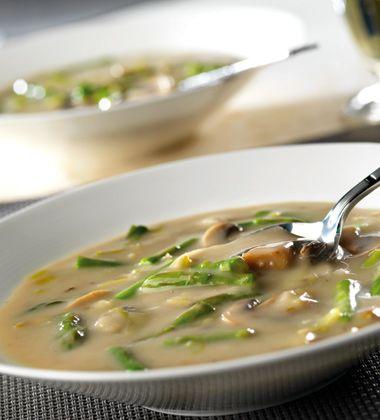 Сливочный суп с грибами и спаржей | Рецепты с фото