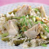 Зеленый салат с артишоками и рисом, салат с рисом, салат, салат с артишока