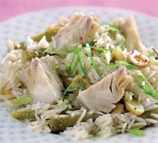 Зеленый салат с артишоками и рисом | Рецепты с фото