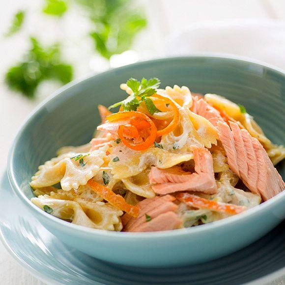 Фарфалле с лососем под сливочным соусом | Рецепты с фото