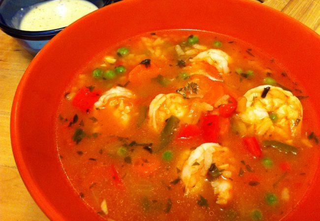 испанский суп, испанский суп с морепродуктами, испанский суп с креветками, испанский креветочный суп, суп с креветками, суп