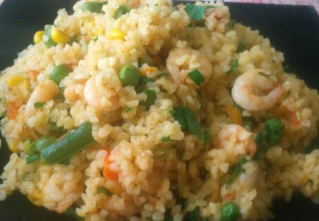 Булгур с креветками и овощами | Рецепты с фото
