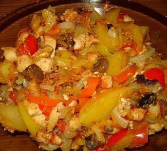 Филе цыпленка с шампиньонами и овощами | Рецепты с фото