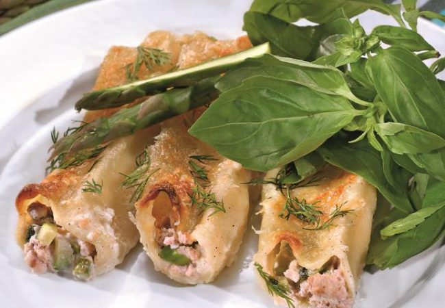 Каннеллони с лососем и цукини | Рецепты с фото