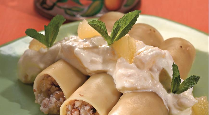 Каннеллони с орехами и ананасами | Рецепты с фото