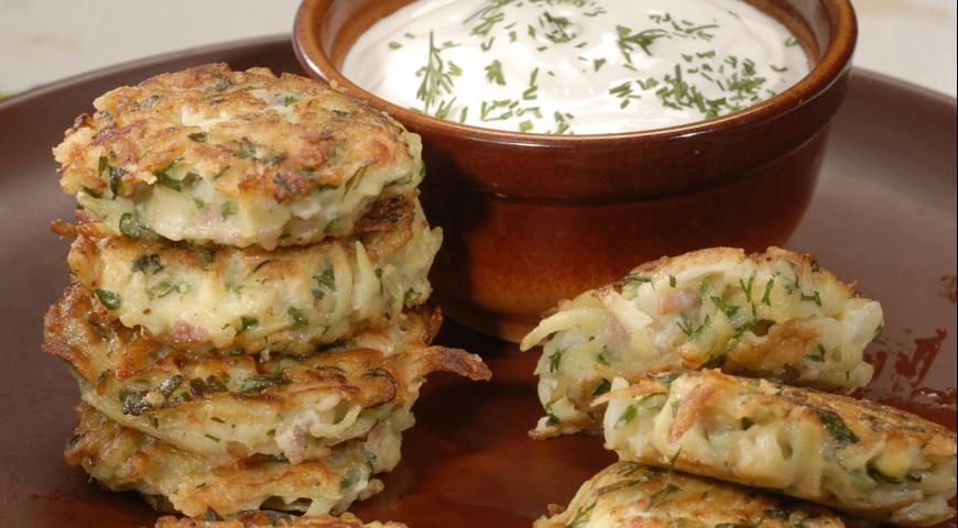 Картофельные оладьи с ветчиной | Рецепты с фото