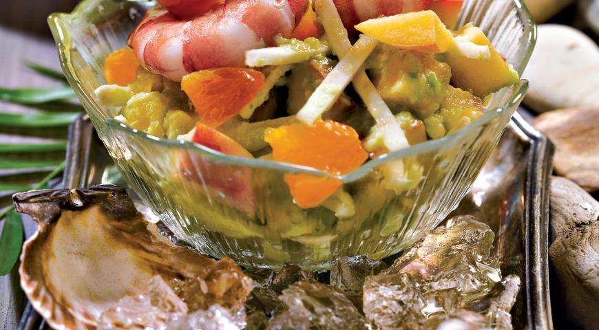 Кисло-сладкий салат из авокадо с креветками | Рецепты с фото