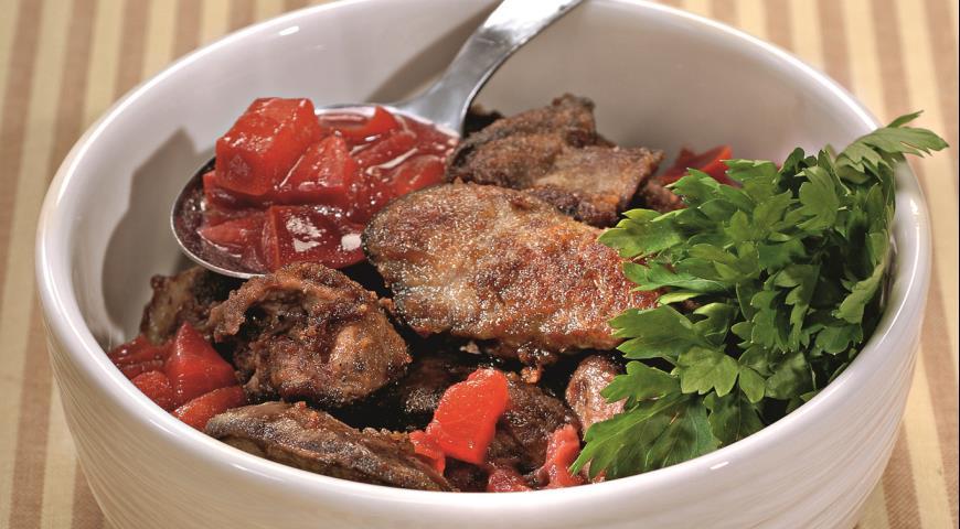 Куриная печенка со сливовой подливой | Рецепты с фото