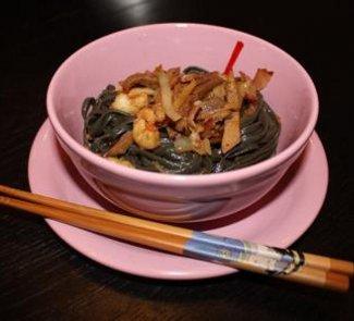 Лапша с языком и креветками в соусе Терияки   Рецепты с фото