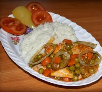 Мясо птицы с рисом и зеленым горошком   Рецепты с фото