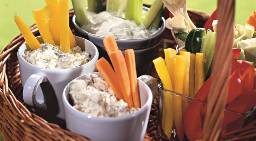 Овощи с дипами | Рецепты с фото