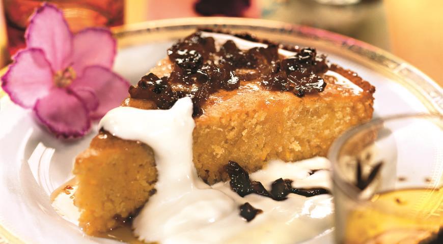 Пирог из кускуса со сметаной и финиковым сиропом   Рецепты с фото