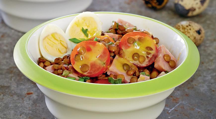 Салат из чечевицы с помидорами черри | Рецепты с фото