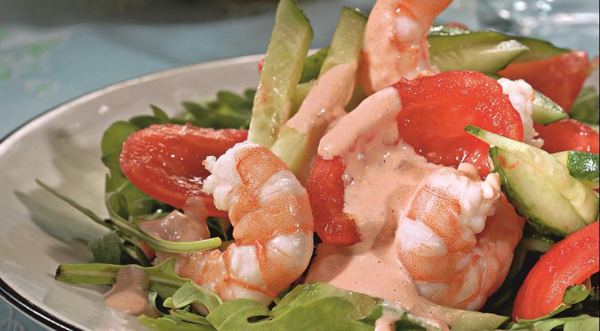 Салат из креветок с томатным майонезом | Рецепты с фото