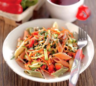 Салат из пасты, ветчины и овощей | Рецепты с фото