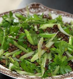 Салат из зеленой чечевицы со спаржей | Рецепты с фото