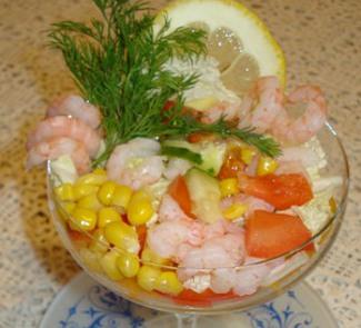 Салат-коктейль с креветками и авокадо | Рецепты с фото
