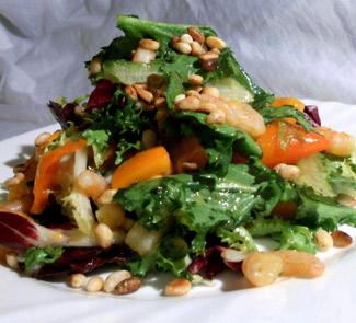Салат с креветками, хурмой и кедровыми орехами | Рецепты с фото