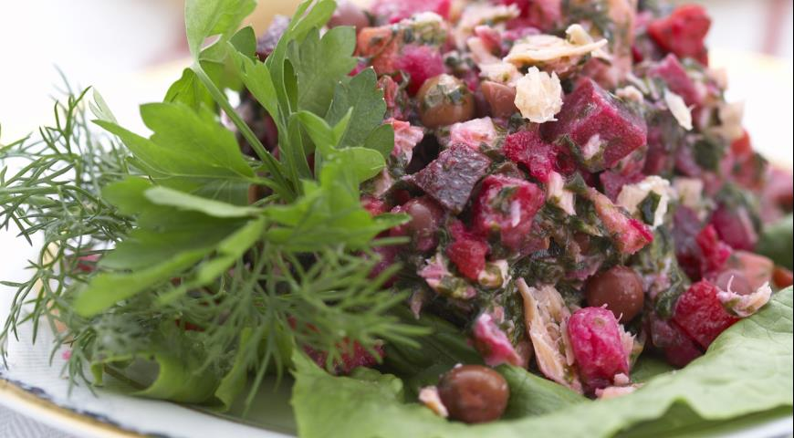 Салат Винегрет с морской капустой и рыбой | Рецепты с фото