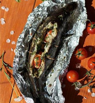 Сибас с креветками | Рецепты с фото