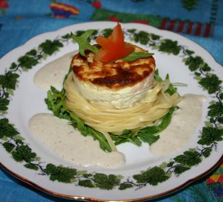 Спагетти с луковым пудингом и соусом из рокфора | Рецепты с фото