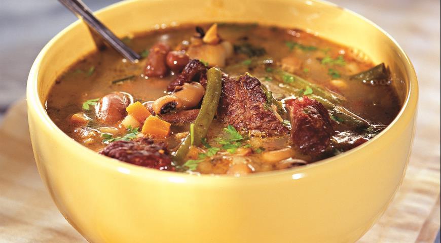 Суп с тремя видами фасоли   Рецепты с фото