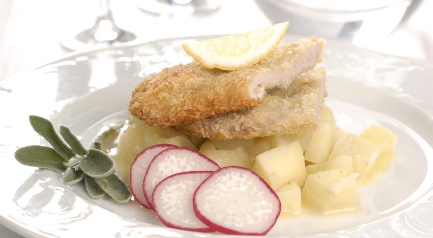 Свиной шницель с яблочным гарниром | Рецепты с фото