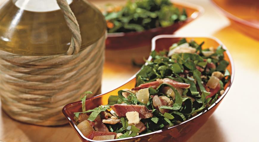 Зеленый салат с беконом | Рецепты с фото
