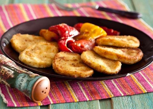 Жареный сулугуни с гарниром из перца | Рецепты с фото